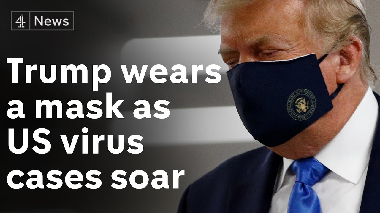 Donald Trump wears a mask for the first time in public - as Florida confirms 15,000 new Covid cases