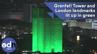 Grenfell Tower and London landmarks lit up in green