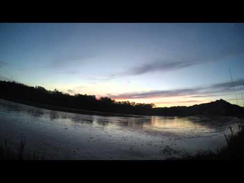 Flood engorged Little Missouri River in Theodore Roosevelt
