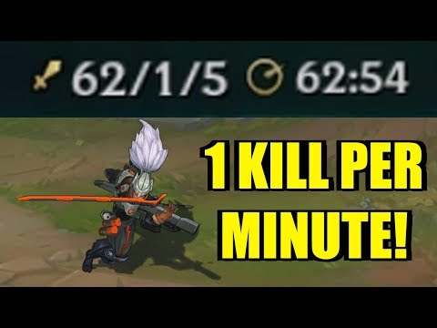 1 KILL PER MINUTE!! YASUO INSANE DAMAGE! [ League of Legends ]