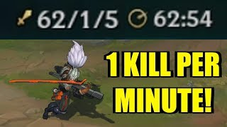 1 KILL PER MINUTE!! YASUO INSANE DAMAGE! [ League of Legends ]