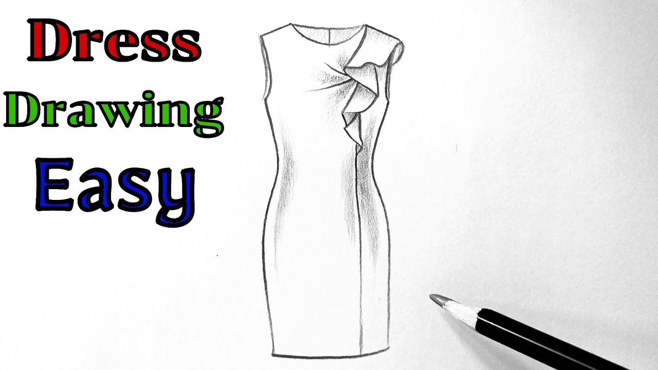 Pencil dress drawing of a girl / Fashion Illustration Art/ fashion Dress design tutorial easy