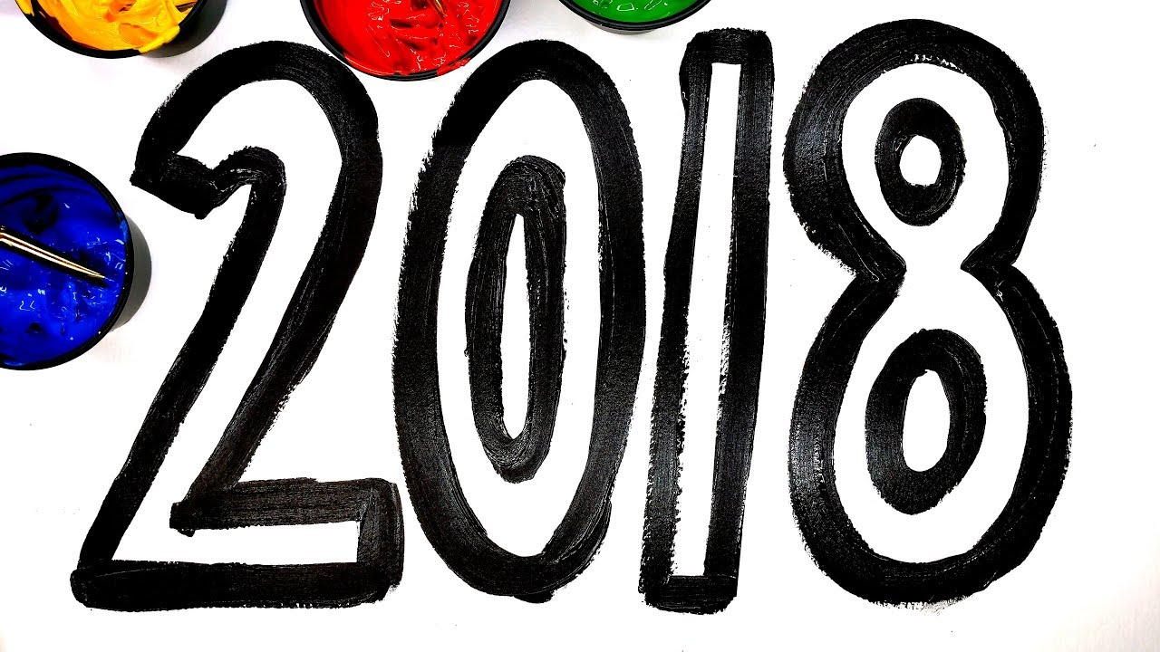 Coloring Pages Using Numbers : Painting 2018 new years 2018 numbers painting pages for children to