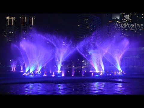 Lake Symphony musical fountains in Kuala Lumpur KLCC park (real sound and music)