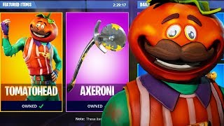SKIN GIVEAWAY! NEW TOMATOHEAD SKIN in FORTNITE! NEW TOMATOHEAD and AXERONI GAMEPLAY (FREE SKINS)