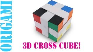 Origami Daily - 429: 3d Modular Cross Cube (hexahedron)- Tcgames [hd]