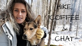 Hike, Coffee and Campfire Chat in Winter Wonderland with my Dog | First Snowfall!