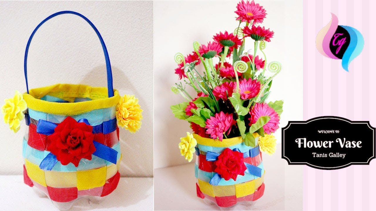 Plastic bottle craft how to make flower vase with waste for Plastic bottle vase craft