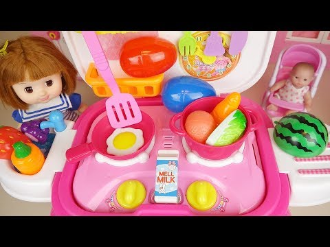 Thumbnail: Baby doll Kitchen cooking food toys and surprise eggs play