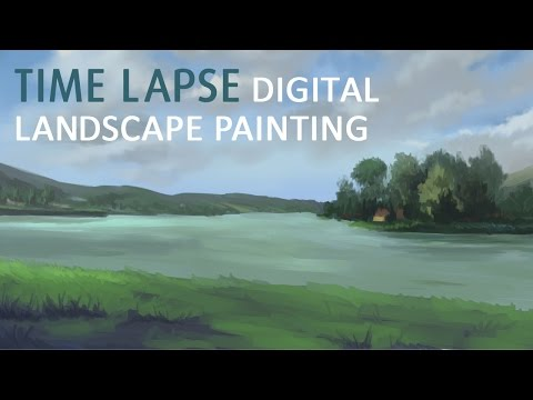 Orfű Lake Landscape Painting | Digital Time Lapse Painting by Adrienn Ecsedi
