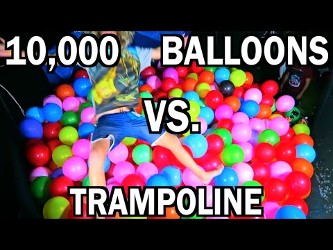 TRAMPOLINE FILLED WITH BALLOONS!!!!