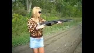 Girls are shooting with shotgun! Fails