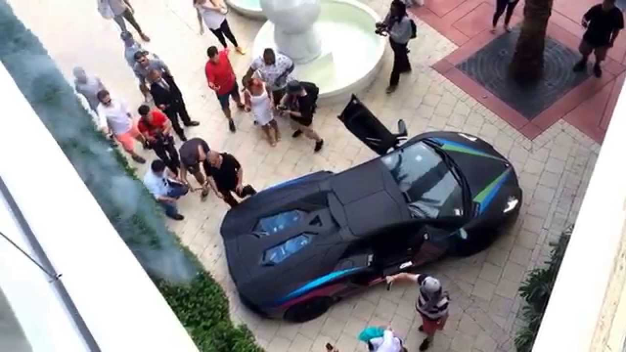 Lamborghini Aventador Sets Bush On Fire With Exhaust. Gumball 3000 2014    YouTube