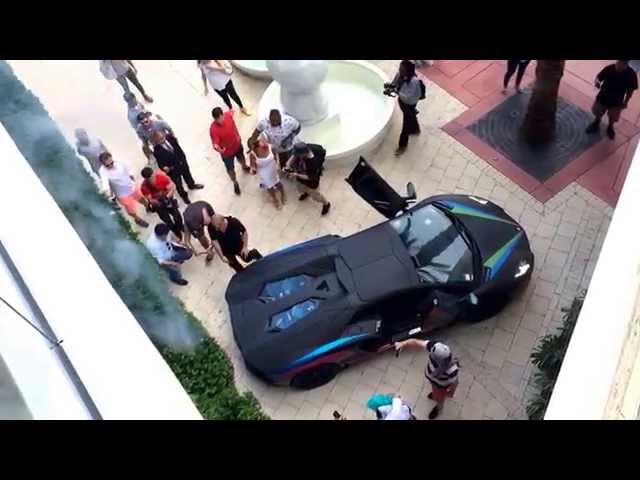 Lamborghini Aventador sets bush on fire with exhaust. Gumball 3000 2014