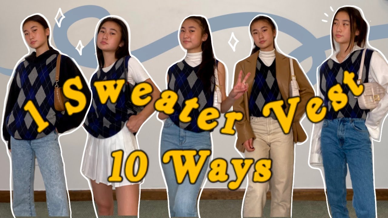 1 Sweater Vest, 10 Outfits | 10 ways to wear a sweater vest - YouTube