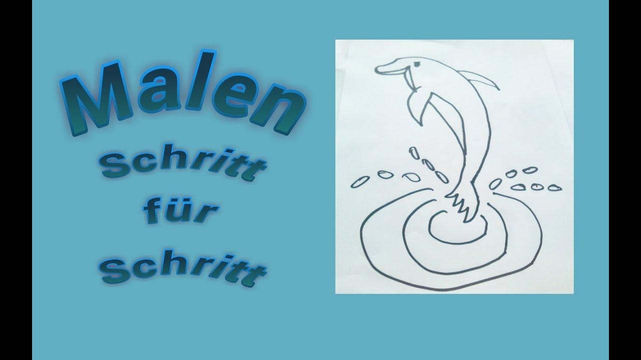 Malen für Kinder : Delphin / Delfin Anleitung - YouTube