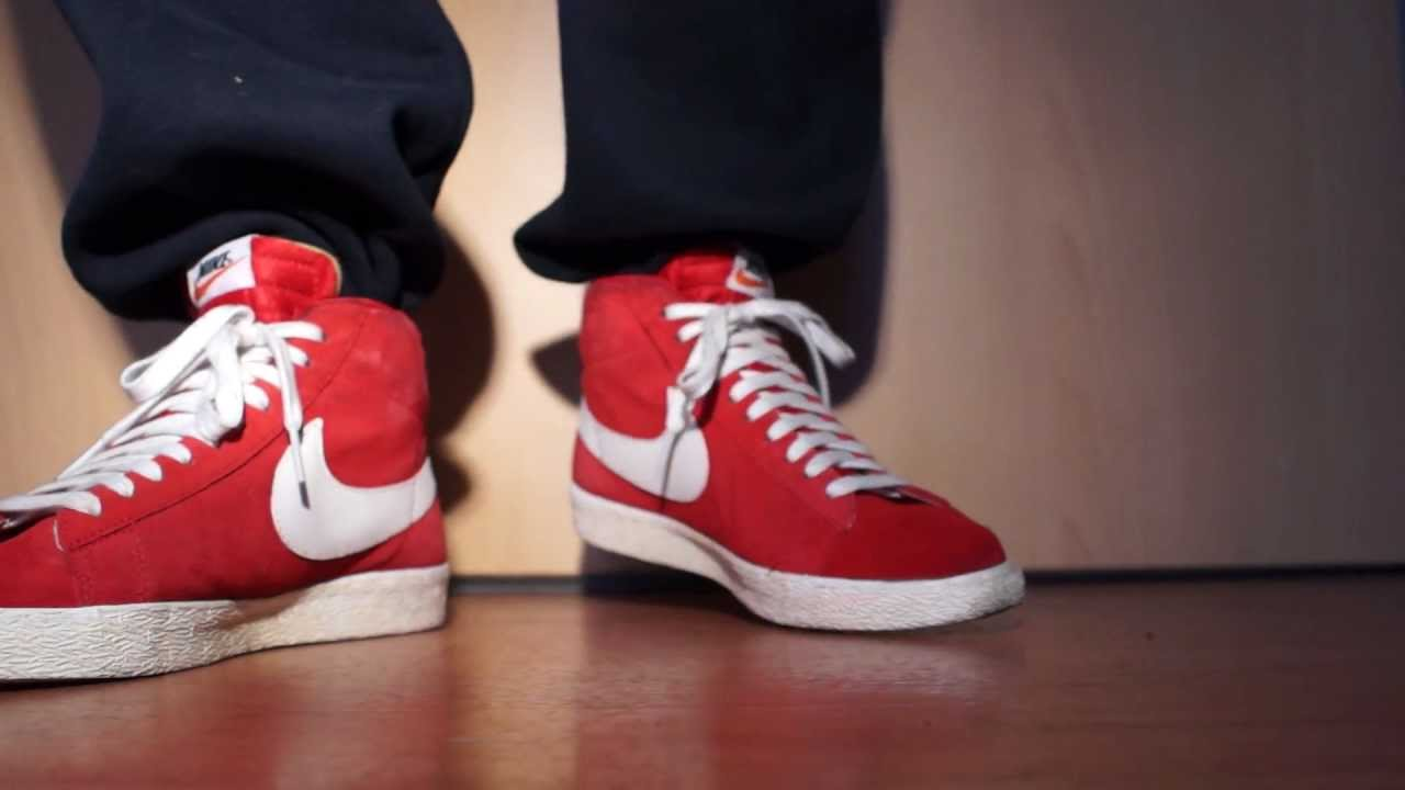 nike blazer red on feet