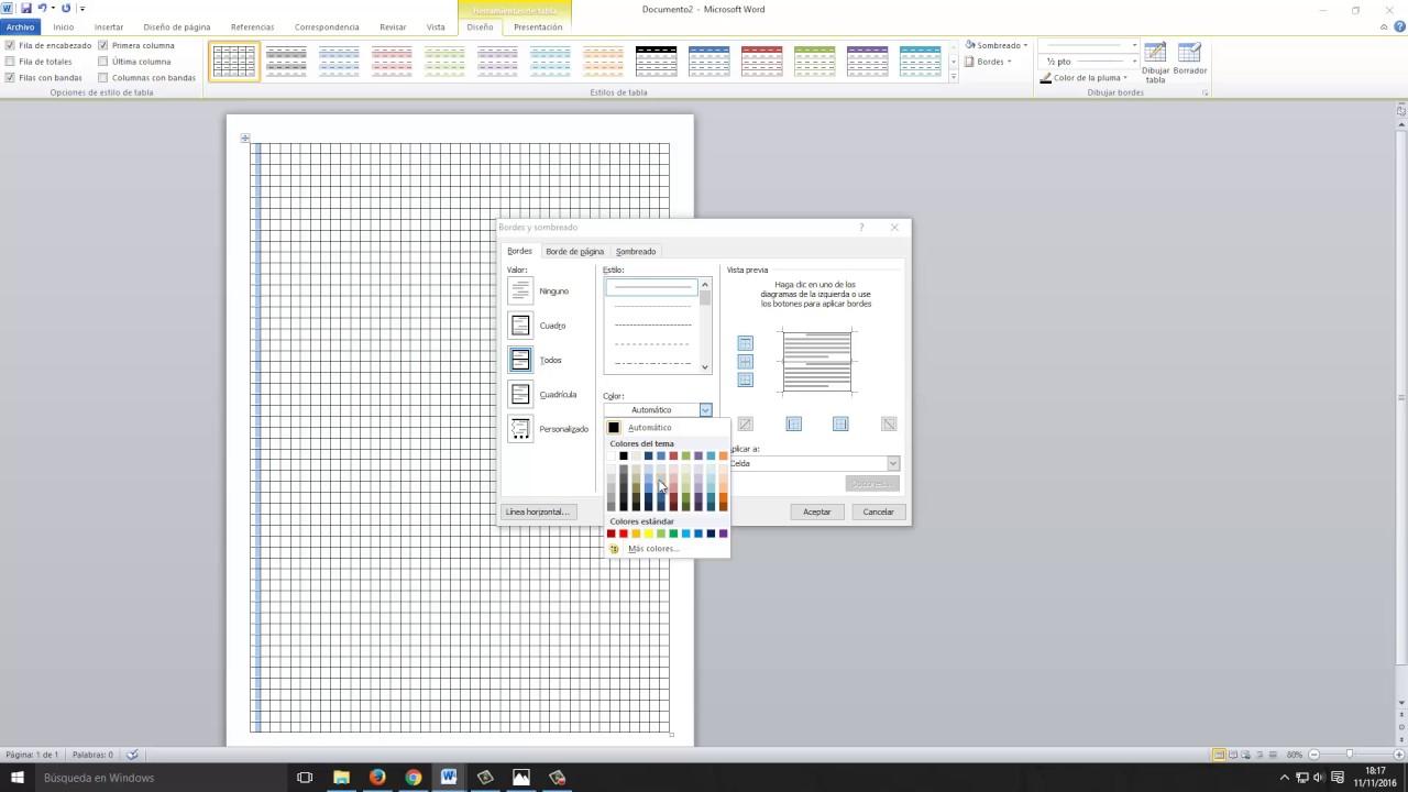 c u00f3mo hacer una hoja cuadriculada en word windows 7  8  10