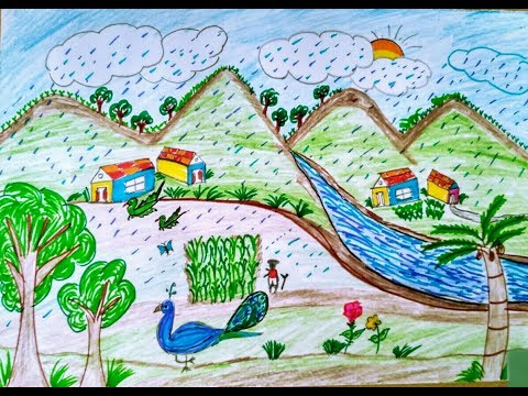 How To Draw Nature Scenery Drawing (Rainy Scenery) Village (free Tutorial) Easy Step By Step For Kid