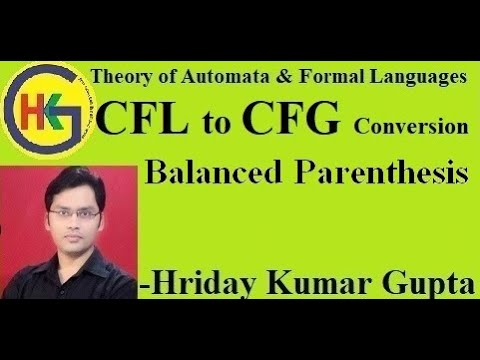 Part 5- (CFG For Balanced Parentheses-Theory Of Automata And Formal Languages )