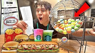 Letting BINGO Game DECIDE What I Eat for 24 HOURS!! (24 HOUR Food Challenge)