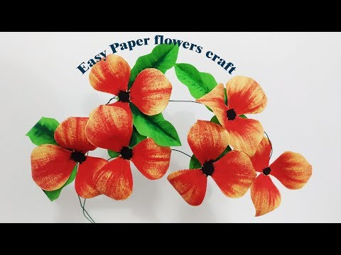 how to make easy paper flowers decor/making paper crafts/diy paper/flower paper step by step