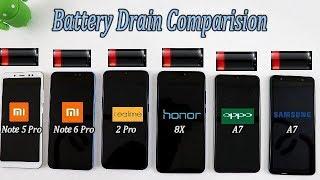 Xiaomi Note 6 Pro Vs Realme 2 Pro Vs Note 5 Pro Vs Oppo A7 Vs Honor 8X Vs Samsung A7 Battery Test !!