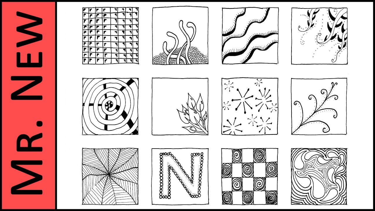 12 Zentangle Patterns Easy Step By Step Zentangle Tutorial For Beginners Re Upload Youtube