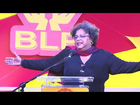 Mia Mottley at Public Meeting in Checker Hall, St. Lucy