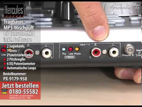 HERCULES Tragbares MP3-Mischpult DJ Console MK4 inkl. Software - YouTube