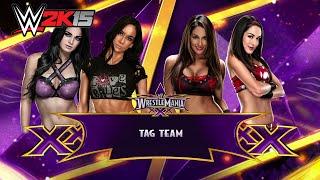 wwe 2k15 ps4 aj lee paige vs the bella twins wrestlemania 31 simulation