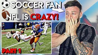 SOCCER PLAYER Reacts to BIGGEST NFL Tackles  |  FIRST TIME REACTION