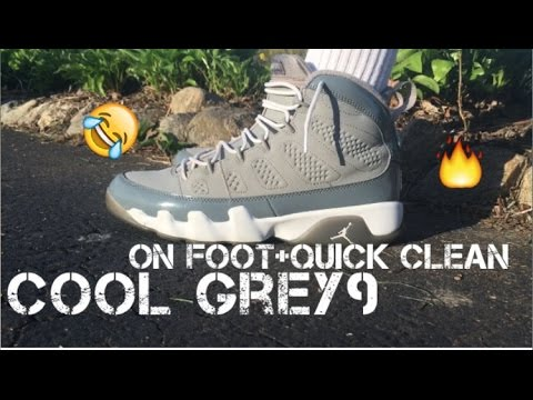 0fd8aded827d8c AIR JORDAN 9 COOL GREY ON FOOT+QUICK CLEAN - YouTube