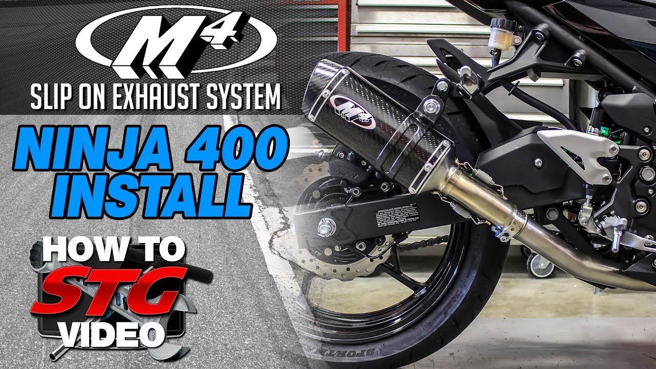 2018 Kawasaki Ninja 400 M4 Slip On Exhaust Install | SportbikeTrackGear com