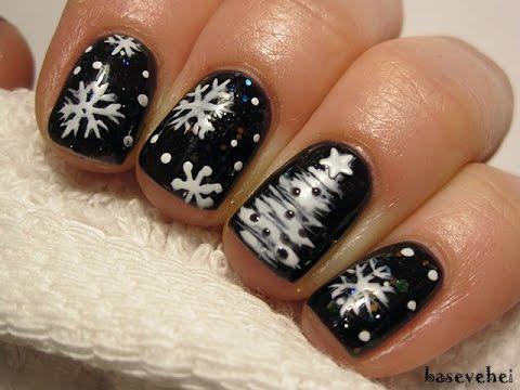 Snowflakes And Chrismastree Nails śnieżynki I Choinka Na