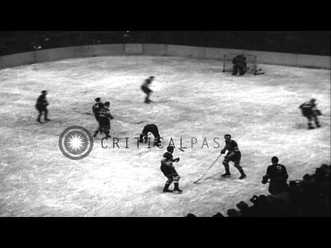 Ice Hockey: New York Americans win game 2 of the 1936 Stanley Cup semi-finals aga...HD Stock Footage
