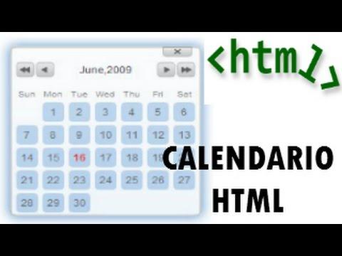 Html Calendario.Implementacion Calendario En Html