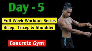 DAY - 5 | Full week workout series - Bicep, Tricep & Shoulders - Anish Fitness