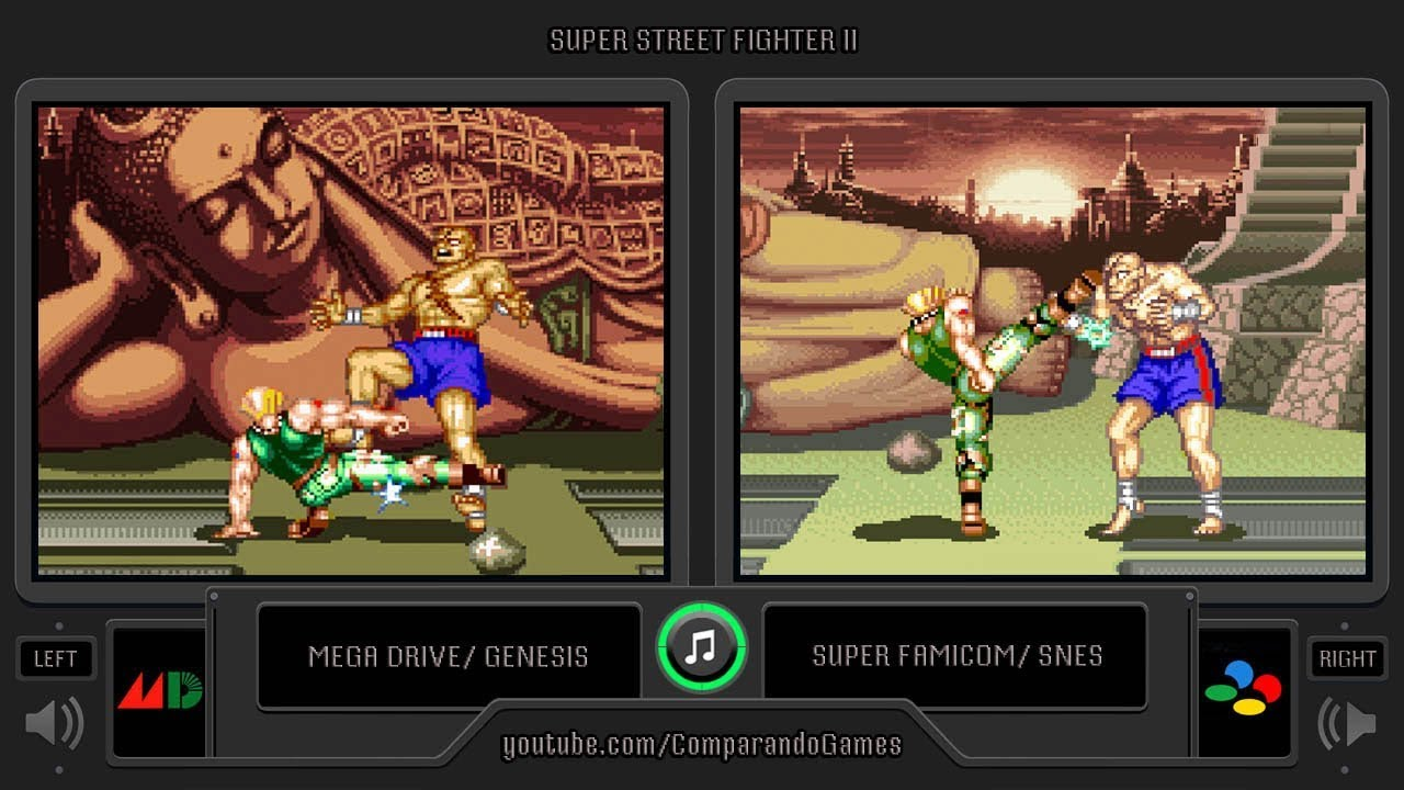 0 Super Street Fighter Ii Sega Genesis Vs Snes Side By Side Comparison Dual Longplay Youtube