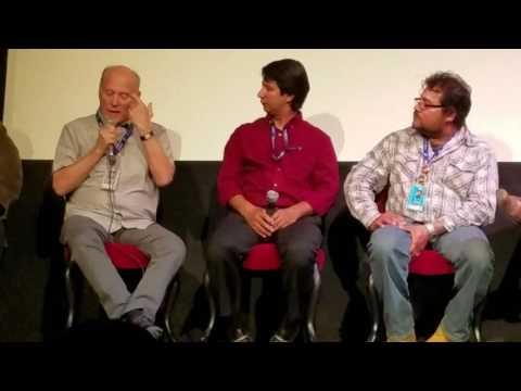 "Q&A ""Finding Oscar"" Producer Frank Marshall Speaking ""Survivor"" Oscar Castaneda on Frank's right."