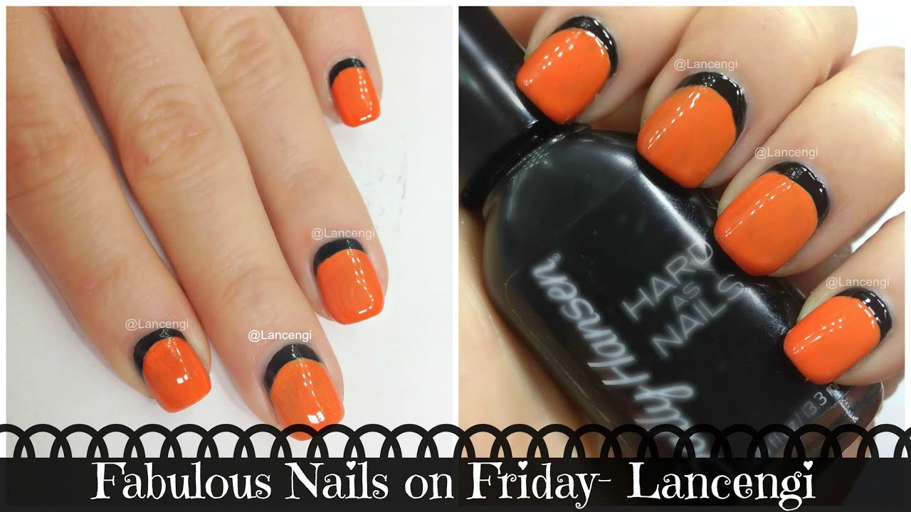 Diy Cute Easy Nail Art Designs 4 Black Orange Nails Youtube