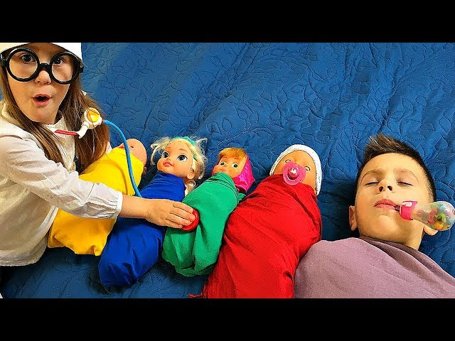 Kids Play with Baby Born Doll Are you sleeping brother John Nursery Rhyme Song