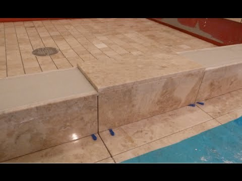 "Part ""5"" How to tile shower curb & measure all cuts to shower floor & main bathroom floor  DIY"