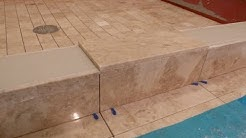"""Part """"5"""" How to tile shower curb & measure all cuts to shower floor & main bathroom floor  DIY"""