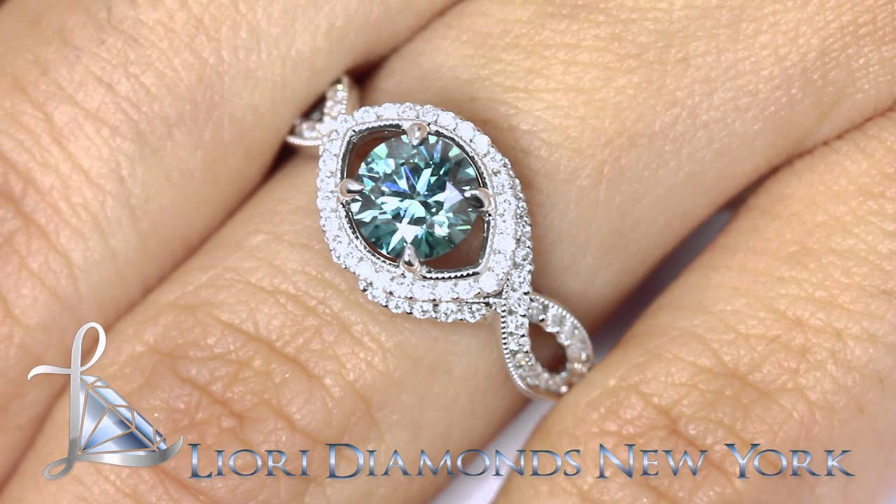 FD 115 1 71 Carat Fancy Blue Diamond Engagement Ring 18k White