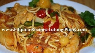 pancit sotanghon guisado with shrimps chicken and fish ball   free filipino recipes lutong pinoy