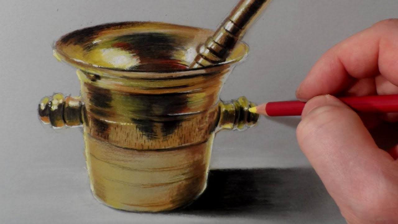 how i draw a brass mortar time lapse by vamos youtube