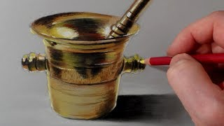 How I Draw a Brass Mortar, Time Lapse by Vamos