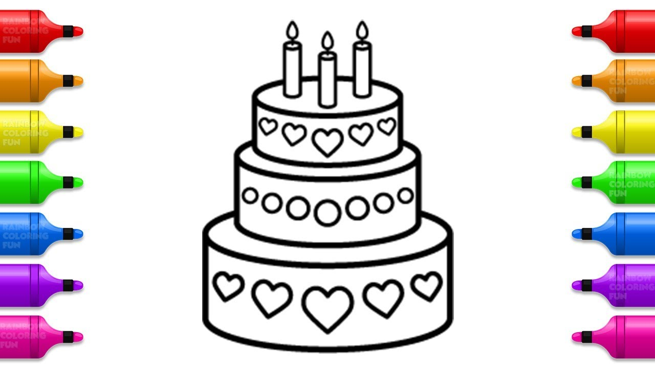 Sweet Cake with Hearts Coloring Pages for Kids | Drawing ...