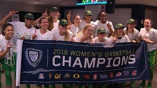 Sights & sounds: Oregon Ducks women\'s basketball celebrates Pac-12 crown
